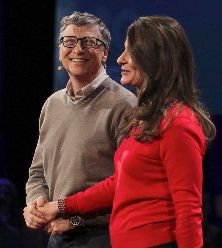 Happy Holding Hands --  Bill & Melinda Gates Give it Away Now