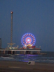 Ferris Wheel At Night (West Beach Sunset) Tags: vacation galveston beach gulfofmexico water fun island pier colorful texas picasa tourist powershot seawall ferriswheel hdr lonestarstate amusementrides texasgulfcoast pleasurepier overthewater galvestoncounty coastalphotos elph330hs