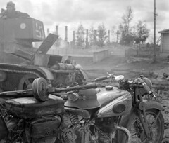 "Finnish T-26E light infantry tank and NSU motorcycle • <a style=""font-size:0.8em;"" href=""http://www.flickr.com/photos/81723459@N04/14289879956/"" target=""_blank"">View on Flickr</a>"