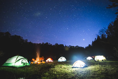 Our small tent community (TheSpencermiller) Tags: travel camping light sky nature night forest canon stars outdoors eos paint michigan tent adventure national lantern constellations cosmos manistee 6d