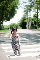 Zorie took a walk in Dad's campus, but it was too HOT that day. (Zorie Huang) Tags: morning light portrait baby cute green girl grass campus asian happy kid child walk innocent taiwan 5d canon5d lovely crosswalk taiwanese thu 東海大學 台中 twoyearold tunghaiuniversity zorie