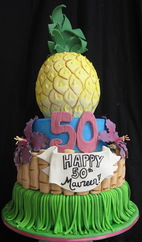 Pineapple Luau birthday cake