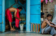 Morning ritual (S t a n l e y A m b r o s e) Tags: street old india man colors 35mm temple photography nikon shrine vibrant faith priest f18 prayers cuttack odisha d5100