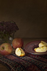 Variation on a Theme (suzanne~) Tags: fruit flower indoor painterly carpet stilllife apple tabletop artistic art traditional