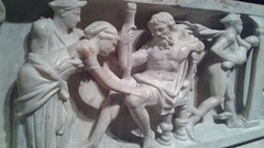 Birth of Dionysus from Zeus's thigh (Ken_Mayer) Tags: uploadedwithflync baltimore waltersartmuseum hermes mercury roman sarcophagus classical art