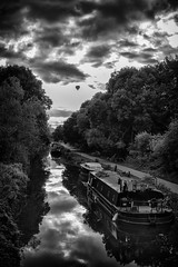 Bath Canal at susnet (Daz Smith) Tags: dazsmith canon6d bw blackwhite blackandwhite bath city streetphotography people candid canon portrait citylife thecity urban streets uk monochrome blancoynegro mono water canal boats barges balloon sunset river reflections towpath ripples clouds