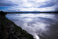 Wairoa River Reflections (C & R Driver-Burgess) Tags: river reflections clouds sky hills bank bridge wide broad smooth flat calm peaceful serene rocks dynamic ripples water