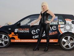 Jackie & VR6 399 (Fast an' Bulbous) Tags: long blonde hair girl woman hot sexy black leather boots vw golf vr6 vwdrc engine carbon clean volkswagen enginecarbonclean corset outdoor vehicle people milf mature herbiesautos