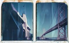 Pier 24 and Pier 26 under the San FranciscoOakland Bay Bridge (Peter William Knight) Tags: sanfrancisco autumnpolaroidweek2016 polaroid diptych baybridge pier24photography