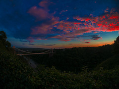The Red Storm (RS400) Tags: cool wow amazing wicked red orange sky south west bristol clouds clifton suspension bridge blue sun sut golden hour grass olympus yellow