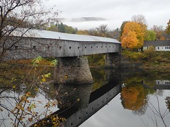 2016-10-21_DSCN5971 (becklectic) Tags: 2016 bridge connecticutriver cornish coveredbridge fallcolors newhampshire reflection vermont windsor