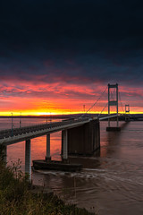 Sunset at the seven crossing (technodean2000) Tags: severn crossing chepstow bristol channel nikon d610 lightroom 1835mm lens night bridge reflection first outdoor people photoadd
