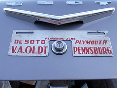 1956 DeSoto Firedome (splattergraphics) Tags: 1956 desoto firedome dealerbadge dealernameplate mopar vaoldtdesotoplymouth carshow eastpennmodifiers telfordpa