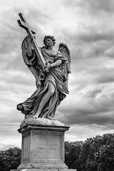 Angel with the Cross (Mike Schaffner) Tags: angel bw bernini blackwhite blackandwhite clouds cross ercoleferrata ferrata italia lazio monochrome roma sculpture sky stangelobridge statue italy it