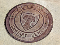 Sanitary Sewer, Schenectady, NY (Robby Virus) Tags: schenectady newyork ny state upstate sanitary sewer cover metal street wheat syracuse castings sales corp patent