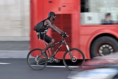 Dirty Jo (jeremyhughes) Tags: london thestrand street cyclist cycling bicycle mountainbike mtb atb dirtyjo speed motion movement panning bike city urban bus red redbus mobility black cap hat style stylish attitude nikon d750 nikkor 80200mmf28 tattoo tattoos tattooed