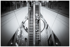 Up or Down? (JakaPH Photography) Tags: street city brisbane queensland australia black white bw urban shopping centre stairs staircase escalator people living wideangle indoor bright monochrome moving traveling travelling