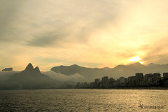 Ipanema sunset .br (vivianawinkler) Tags: ipanema rio de janeiro brasil brazil sundown sunset orange sun sol dois irmaos mountain see bright panorama moment instant