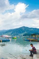 Lakeside Local (Bokeh-Dokey) Tags: boats lake nepal phewalake pokhara sarangkot fujixt1