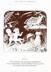 He felt a sharp pull (katinthecupboard) Tags: vintagechildrensillustrations monotone comurray elves mushroom toadstool toad frog