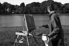 """""""Le Couple de Peintres sur la rive du Douron.... Madame et le Manoir de La Tour d'Argent"""" (The Blue Water Lily's Company) Tags: fdrouet nb bw portrait film artiste artist"""