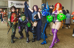448 (Fearless Zombie) Tags: emeraldcitycomiccon emeraldcitycomiccon2015 eccc eccc2015 comiccon seattle downtown downtownseattle washingtonstateconventioncenter cosplay costumeplay costume costumes dccomics teentitans robin beastboy raven bluebeetle starfire