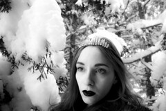 (Carli Vgel) Tags: carlivgel selfportrait blackandwhite winter crystals magic witchy forest snow portraits