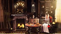 Medieval memories (meriluu17) Tags: noblecreations nc light medieval fantasy oldage age indoor lights people room history fireplace meal dish chicken fish wood table altar magic