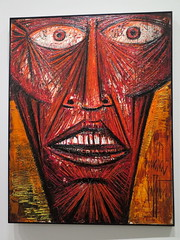 Tte d'corch / Flayed Head (1964) by Bernard Buffet (Sokleine) Tags: bernardbuffet buffet painting tableau art peinture museum mam muse musedartmoderne culture sixties choc folie paris exhibition exposition 75016 france frenchheritage corch tte head red rouge rot face visage