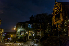 Main St. Haworth (jackharrybill) Tags: haworth westyorkshire yorkshire black bull pub church evening nighttime