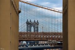 Bookends (Karnevil) Tags: northamerica usa us newyork newyorkcity ny nyc brooklyn manhattanbridge brooklynbridge buildings lines angles bookends dumbo downunderthemanhattanbridgeoverpass d610 petekreps