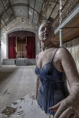 Ladies & gentlemen, may i present to you... (Kristel van de Laar Photography) Tags: abandoned decay beauty beautiful belgium urbex theatre stairs indoor photography happiness stage laughter movies curtains doll