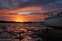 Flaming sky . (yannrichard170) Tags: sunset sunrise shoreline landscape boat rivage sky cloud littoral sun soleil paysage bretagne brittany bateau finistre nuage