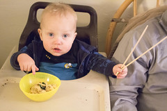 """""""Look at this!"""" (quinn.anya) Tags: paul baby noodles chopsticks pointing highchair"""