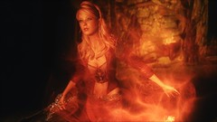 TESV - Mystify (tend2it) Tags: kenb elder scrolls skyrim v rpg game pc ps3 xbox screenshot sweetfx enb krista demonica race sg lilith 161 felicia arcane mage magic magik cast caster spell glow red fire smoke green eyes dread knight sword mods