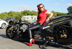 Holly_9794 (Fast an' Bulbous) Tags: top fuel bike motorcycle nitro fast speed power santa pod pits race track strip drag santapod girl woman biker chick babe long brunette hair red shoes stilettos high heels leather pvc jeans leggings beauty model pinup outdoor people