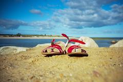 red summer sandals (ho_hokus) Tags: summer beach analog ma capecod sandals massachusetts lomolca 35mmfilm 2012 ektar redsandals painescreek kodakektar100 filmphotographypodcast