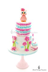My Emily is 4! (Little Cottage Cupcakes) Tags: pink flowers cakes girl ruffles aqua purple butterflies books owl birthdays fondant sugarpaste owlcake littlecottagecupcakes