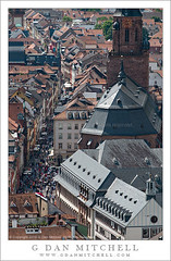 Heidelberg Hauptstrasse (G Dan Mitchell) Tags: above street old travel tower castle church germany print europe cathedral main ghost stock eu historic holy busy license heidelberg schloss narrow townhauptstrasse