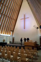 Planning the Evening Event (Jocey K) Tags: newzealand christchurch people architecture lights cross cathedral chairs ceiling cardboard cbd cardboardcathedral