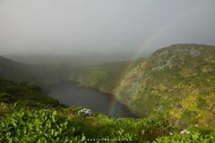 Rainbow over Lagoa Comprida (Alessio Mesiano) Tags: wild lake flores nature fog landscape volcano rainbow caldera lagoa azores lagoacomprida comprida
