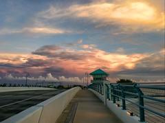 Sunset at John's Pass DrawBridge (MsDee) Tags: sunset summer beach gulfofmexico clouds mexico sand colorful gulf florida photostream madeirabeach 2013 summer2013