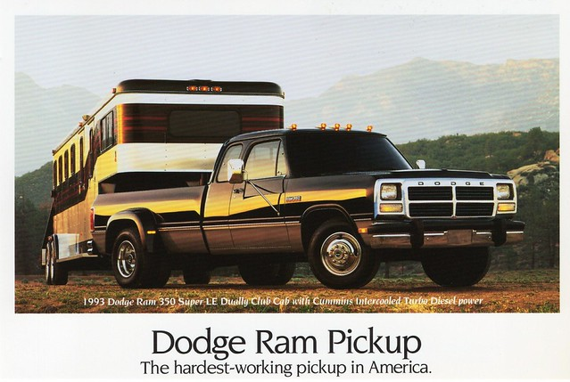 club truck diesel cab postcard pickup super 1993 turbo 350 le dodge ram cummins dually
