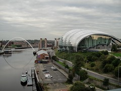 . (Kate Hedin) Tags: city uk bridge england river newcastle grey lights boat town wire ship arch cyclist power pneumatic suspension united arc pass kingdom pedestrian cable center baltic swing sage tyne millennium gateshead earl tilt upon rotate