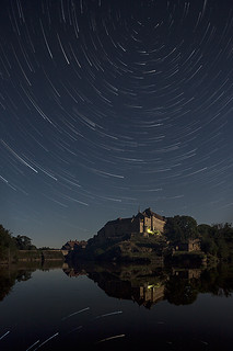 Star trail over the Benedictine Priory at Saint Benoît du Sault