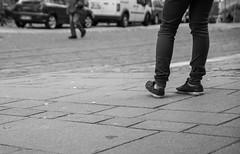 At the road side (Mathieu Thiebaut | http://www.mathieuthiebaut.com) Tags: street people blackandwhite water lines car bike reflections fun funny eau reader noiretblanc sony journal streetscene scene voiture strasbourg adobe 1750 tamron 77 tramway banc joconde lightroom flickrfriday tamron1750 attheroadside alpha77