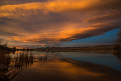 Turbulence mirrored in Tranqulity 2 (Bill Bowman) Tags: sunrise day cloudy lenticular bouldercolorado cootlake wavecloud