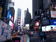 Hobbit Billboard in Snow in Times Square 2013 NYC 0078 (Brechtbug) Tags: street new york city nyc shadow 2 two snow art film halloween movie poster square j mural martin flag broadway lord billboard part rings american r flurries times snowing avenue snowfall creature hobbit 7th tolkien bilbo baggins freeman serial desolation fright 44th smaug the standee 2013 11122013