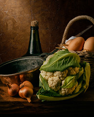 Still Life with Cauliflower and Eggs (kevsyd) Tags: stilllife cauliflower copperpot luismelendez kevinbest spanishstilllife