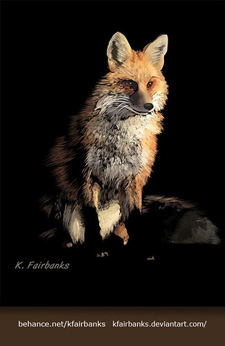 Fox Digital Drawing by K. Fairbanks